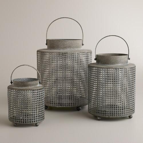 Galvanized Metal Cylinder Lanterns
