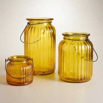 Yellow Ribbed Glass Lantern Candleholders