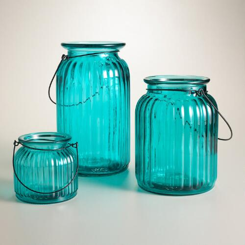 Teal Ribbed Glass Lantern Candleholder