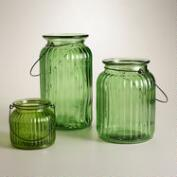 Green Ribbed Glass Lantern Candleholder