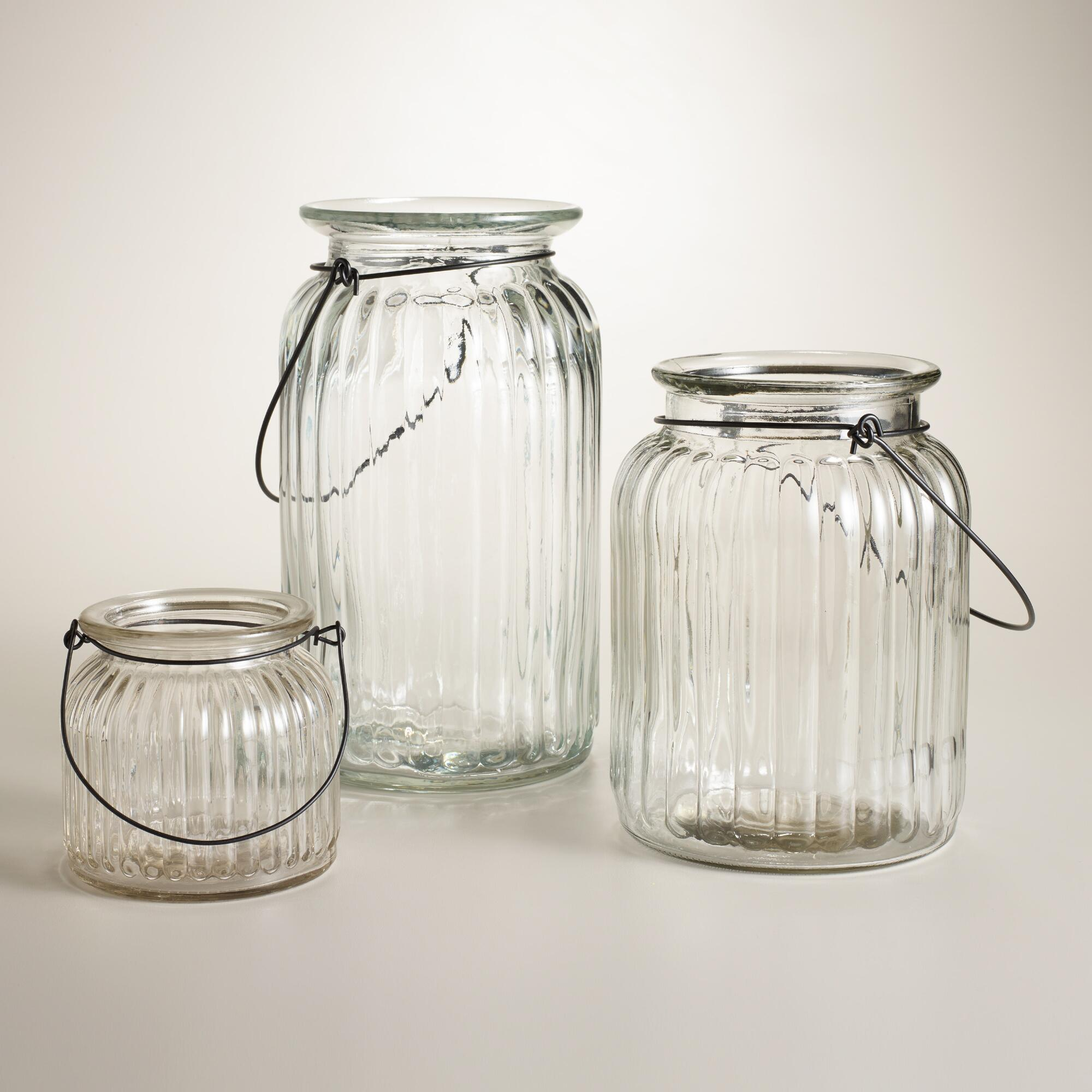 clear ribbed glass lantern candleholder world market