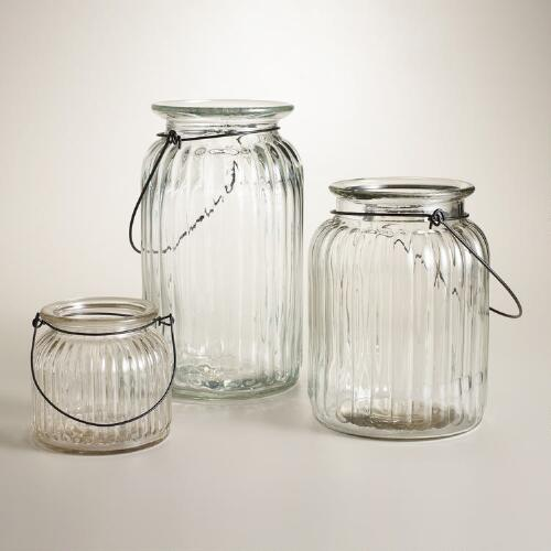 Clear Ribbed Glass Lantern Candleholder