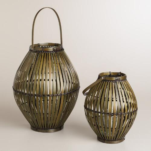 Brown Oval Natural Fiber Lanterns