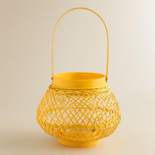 Yellow Natural Fiber Lantern