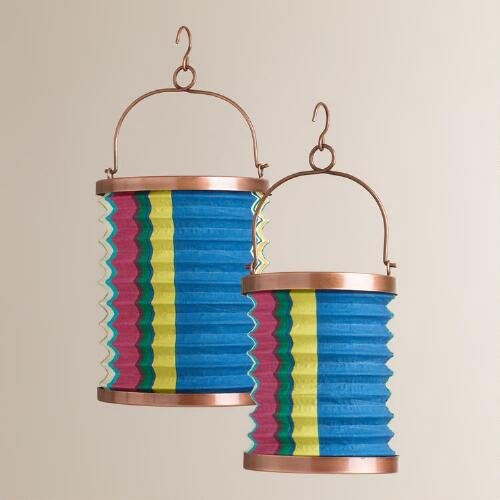 Thai Stripe Fabric Folding Lanterns