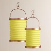 Green Fabric Folding Lanterns