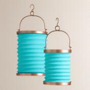 Blue Fabric Folding Lanterns