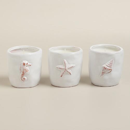 Nautical Citronella Ceramic Candles, Set of 3