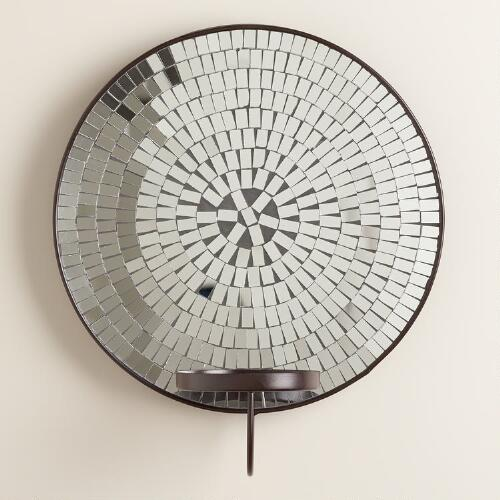 Round Mosaic Mirror Pillar Sconce