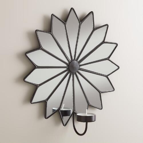 Star Pieced Mirror Tealight Sconce