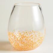 Orange Confetti Stemless Wine Glasses, Set of 4