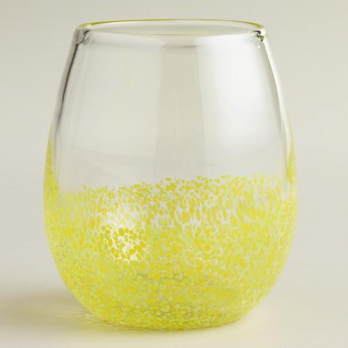 Yellow Confetti Stemless Wine Glasses, Set of 4