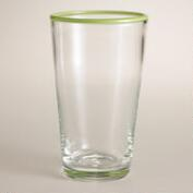 Green Rimmed Tumblers, Set of 4