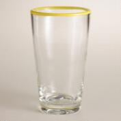 Yellow Rimmed Tumblers, Set of 4