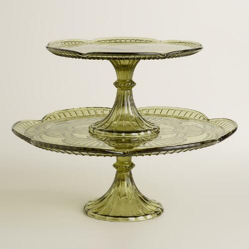 Green Glass Marcella Cake Stands