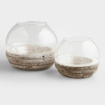 Round Glass and Cement Terrarium