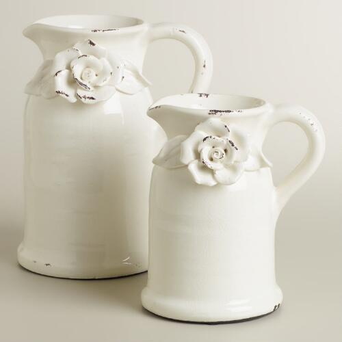 Large Flower Pitcher Vase