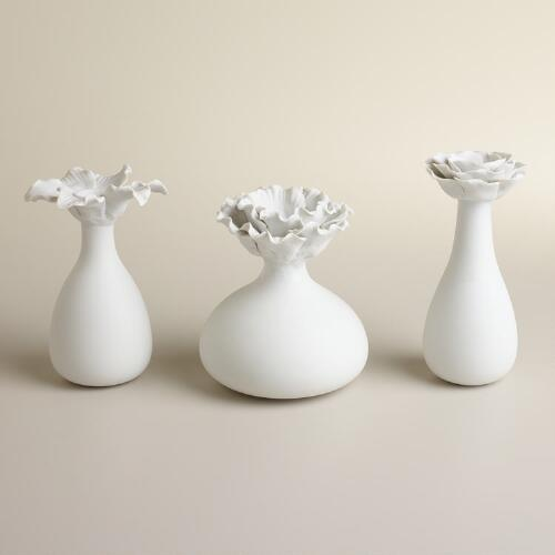 White Bloom Bud Vases, Set of 3