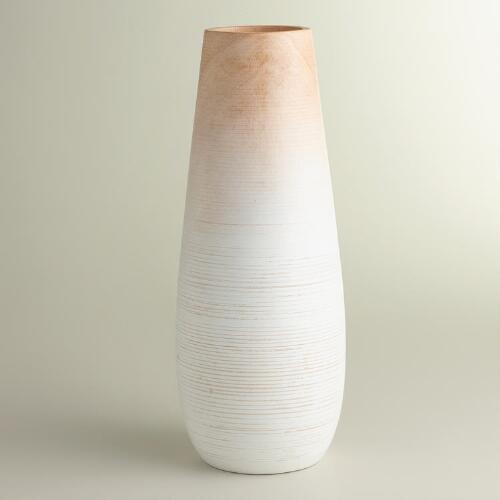 Medium Oval White Wood Ombre Vase