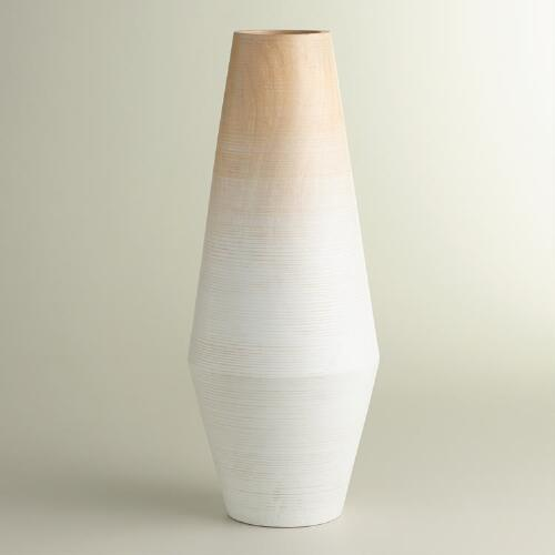 Large Oval White Wood Ombre Vase