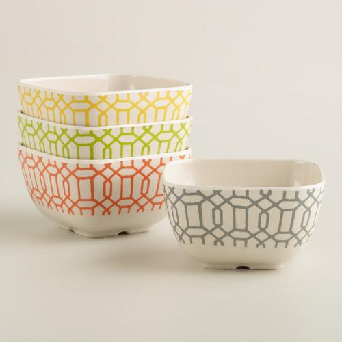 Geometric Window Print Dip Bowls, Set of 4