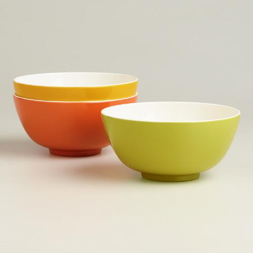 Two-Toned Melamine Bowls, Set of 3