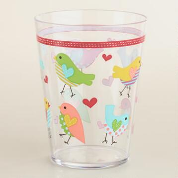 Bird and Hearts Tumblers, Set of 2