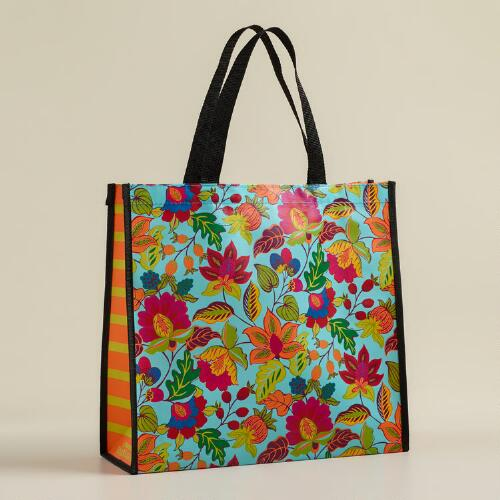Turquoise Floral Henri Reusable Tote