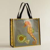 Seahorse and Shell Print Reusable Tote