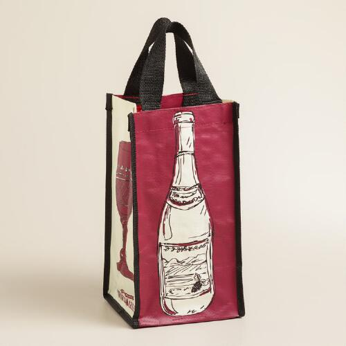 Bottle and Glass Print Reusable Wine Tote