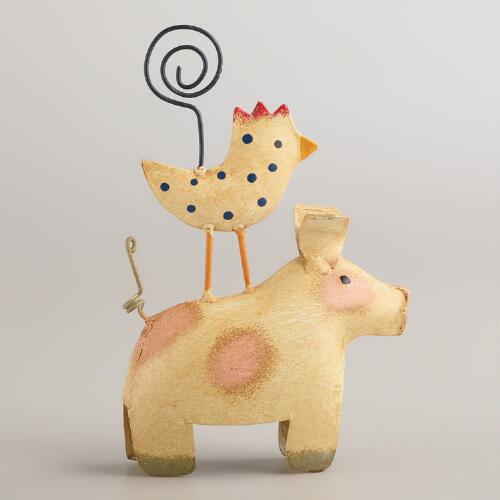 Pig and Rooster Stacked Animal Cardholder