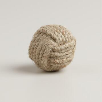 Round Ball Jute Knobs, Set of 2