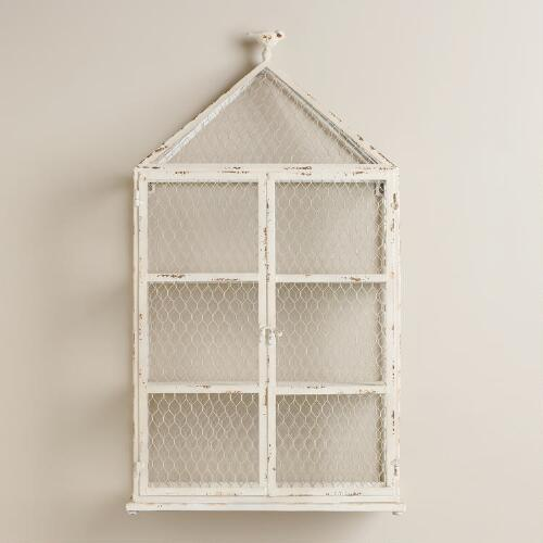 Whitewash Birdcage with Shelf and Bird Top