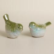 Blue and Green Ceramic Birds, Set of 2