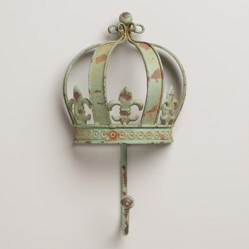Green Fleur-De-Lis Iron Crown Hook
