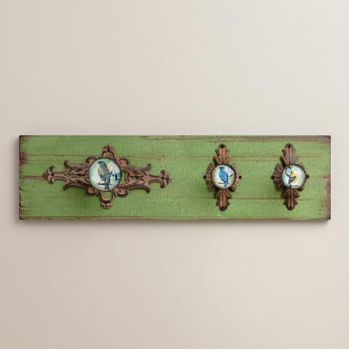 Wooden Wall Plaque with Bird Knobs