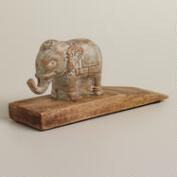 Wooden Elephant Doorstop