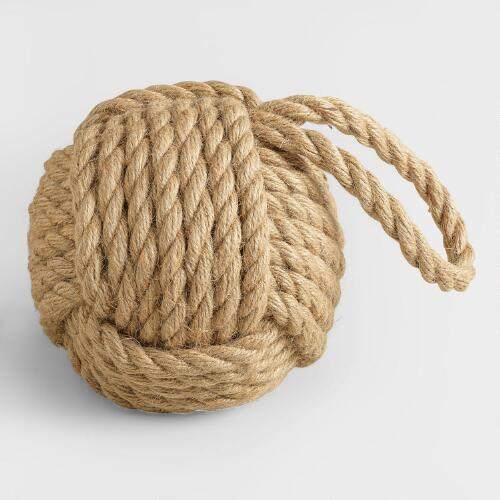 Large Hemp Rope Ball Doorstop
