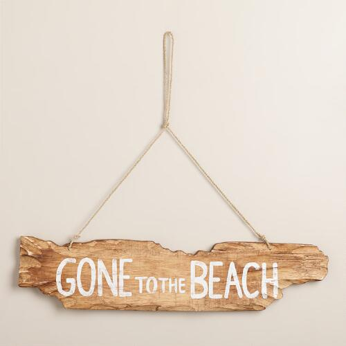 Wooden Gone To The Beach Sign