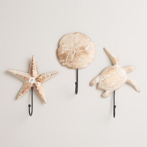 Starfish, Turtle and Sand Dollar Wall Hooks, Set of 3