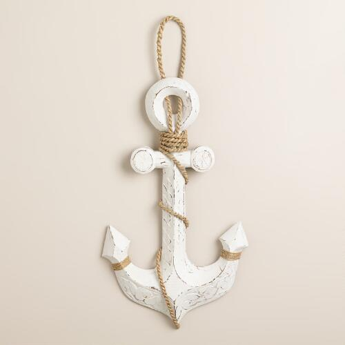 Whitewashed Anchor Wall Hook