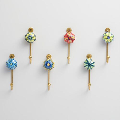 Painted Ceramic Hooks, Set of 6
