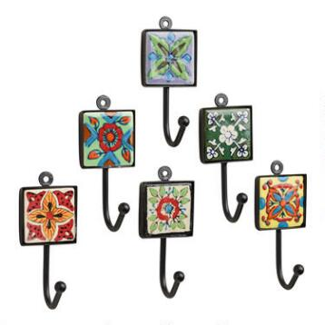 Painted Square Tile Hooks, Set of 6