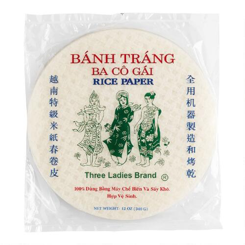 Three Ladies Spring Roll Rice Paper Wrappers, 50-Count