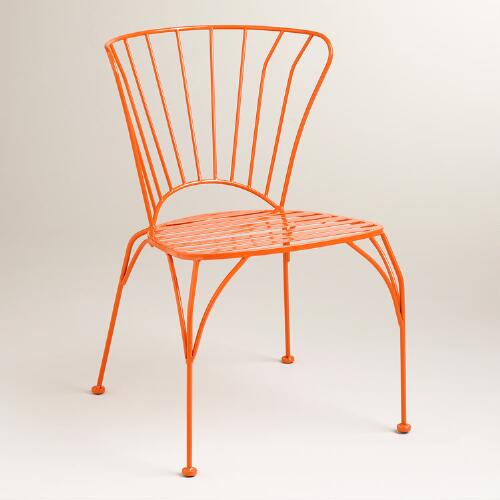 Koi Orange Cadiz Metal Chairs, Set of 2