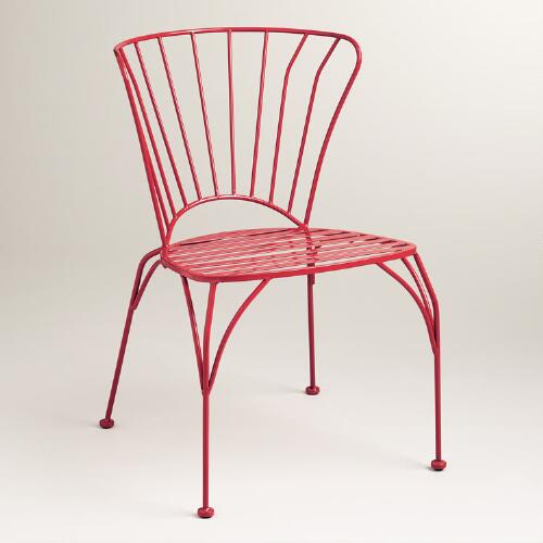 Pompeian Red Cadiz Metal Chairs, Set of 2