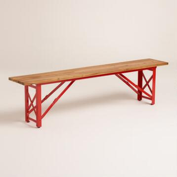 Red Beer Garden Dining Bench