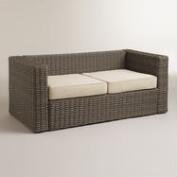 Formentera All-Weather Wicker Bench with Cushions