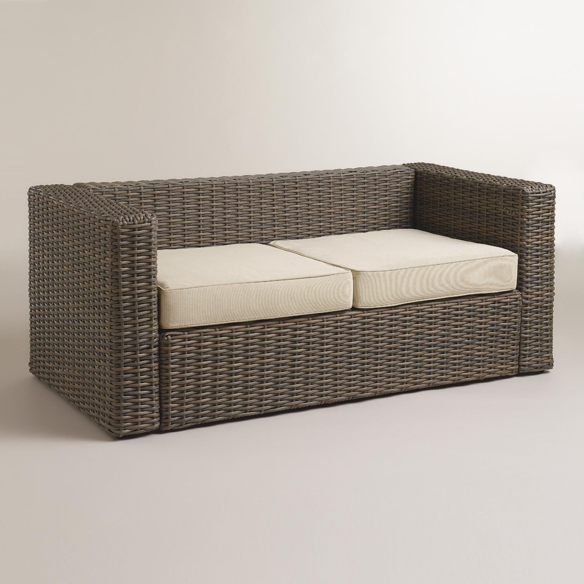 All-Weather Wicker Formentera Outdoor Bench With Cushions