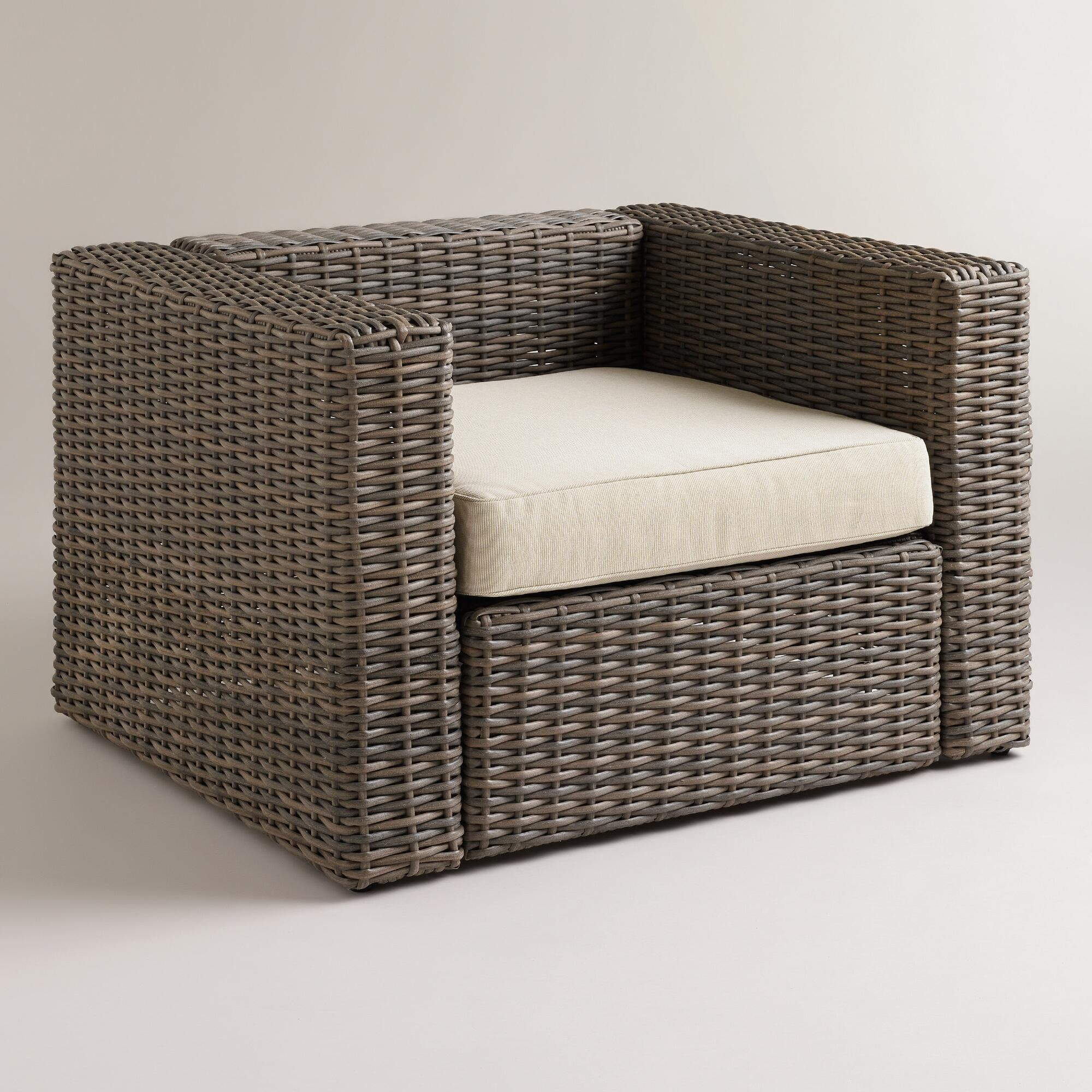 all weather wicker formentera outdoor chair with cushion world market. Black Bedroom Furniture Sets. Home Design Ideas